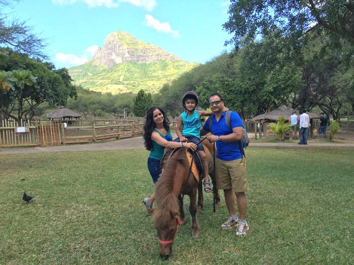 Raj Kumar and his family in Casela Nature Park