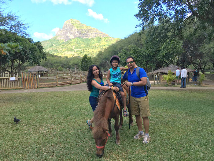 Raj Kumar and his family petting animals at Casela Nature Park