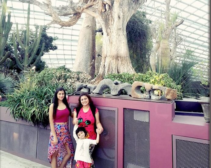 Srishti with her family at the Garden by the Bay in Singapore