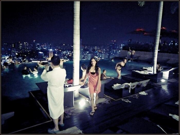 Srishti near the pool at the Hotel Marina Bay Sands
