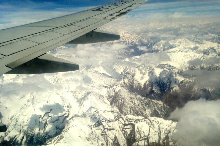 Beautiful view of the snow clad mountains in Leh