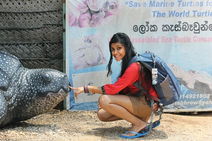 Kanika in the turtle hatchery in Sri Lanka