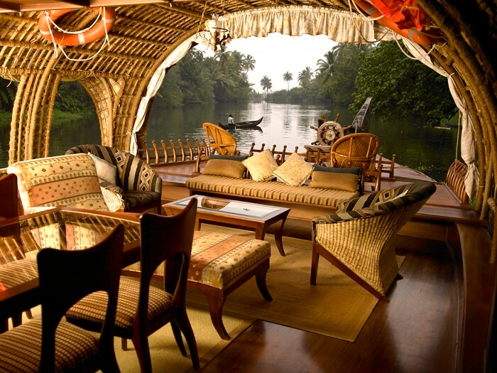 The comfy and airy interiors of houseboats in Alleppey