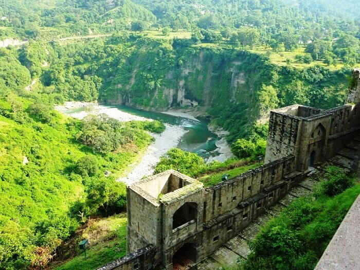 Kangra Fort overlooking the beautiful river in Dharamshala