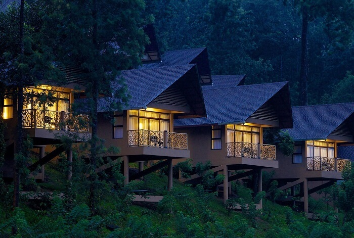 String of terraces outside the rooms at Kofiland Resort - the best luxury resort in Thekkady