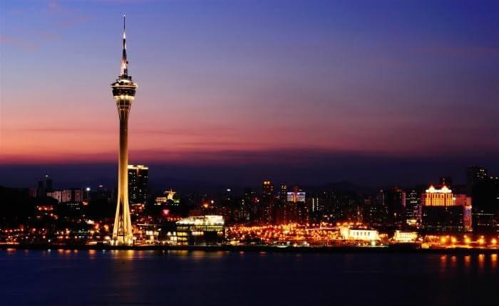 Macau's cityscape during a beautiful evening