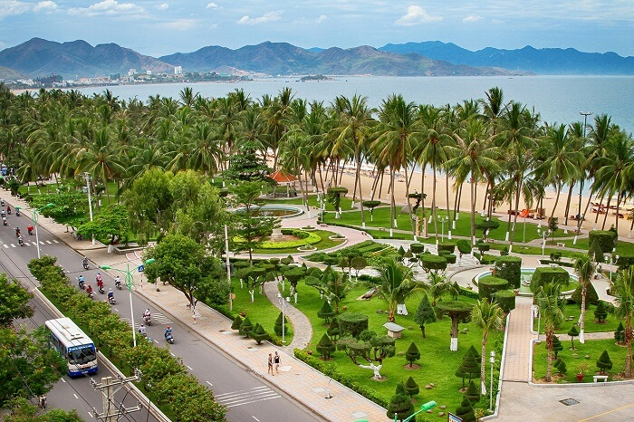 An aerial shot of the Nha Trang cityscape