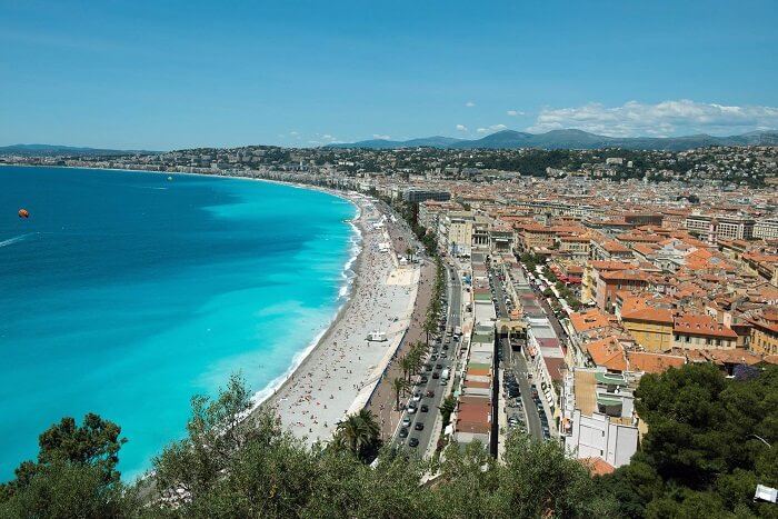 The beach town of Nice is a famous tourist attraction in France