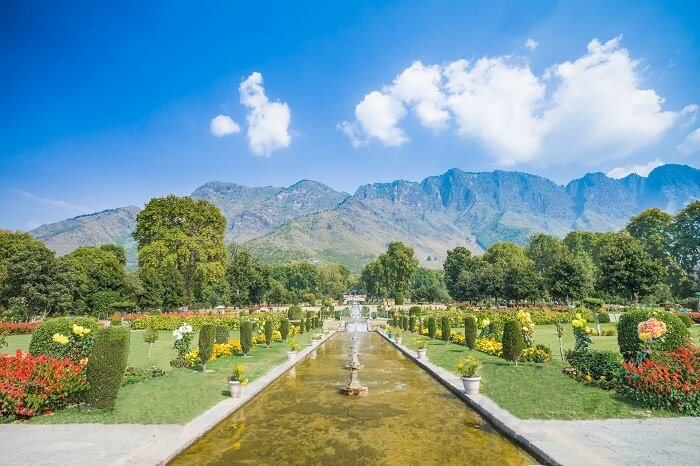 The terraced Mughal Garden of Nishat Bagh in Srinagar