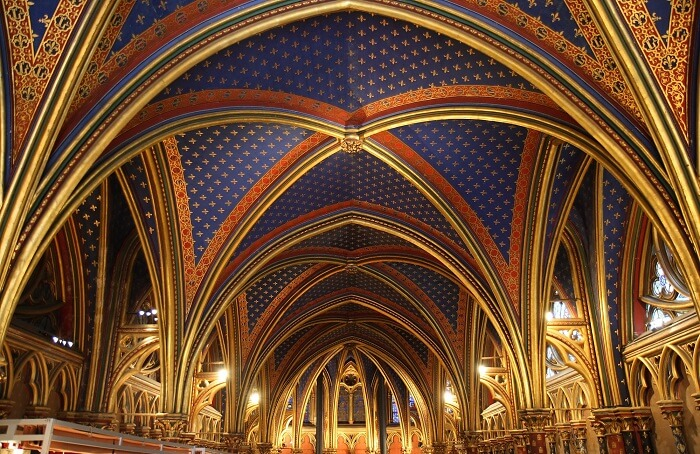 The colorful Gothic architecture of roof at Sainte-Chapelle - one of the most charming places to visit in Paris