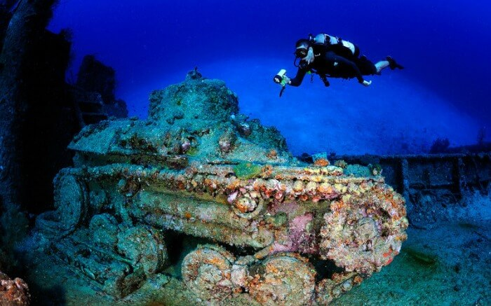 A diver takes a look at the San Francisco Maru Truk Lagoon in Micronesia