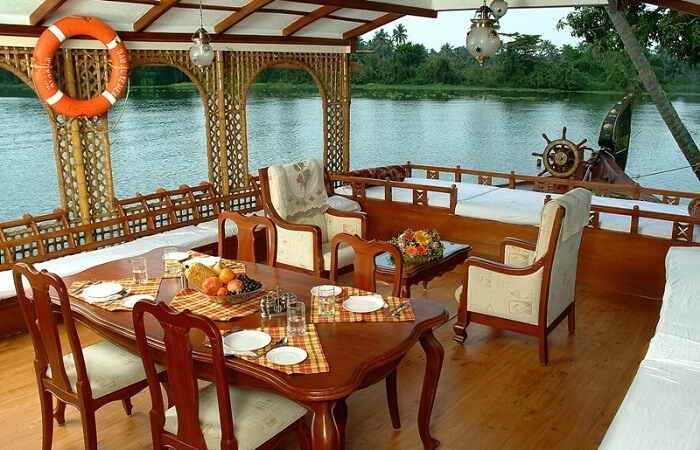 Interiors of houseboats in Alleppey