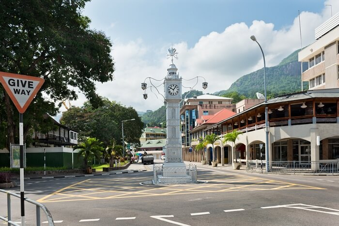 The Little Big Ben clock tower of Victoria in Seychelles
