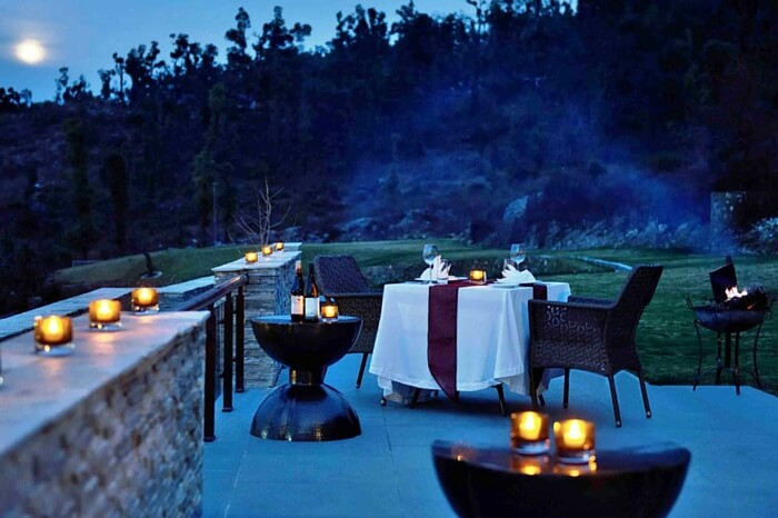 The open air dining area of JW Marriott in Mussoorie in Uttarakhand
