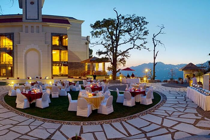 An exquisite view of the open air dining area at Royal Orchid Fort Resort