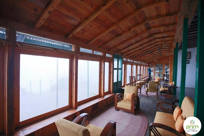 A cozy interior view of the PRIM resort in Mussoorie