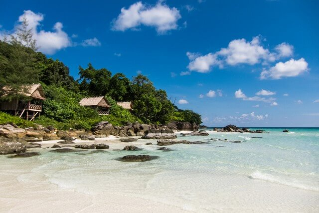 The Koh Rong beach in Cambodia