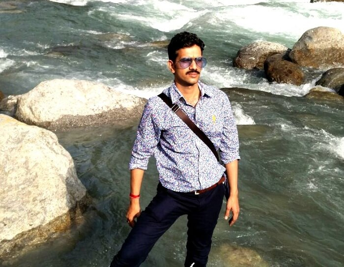 Sachin at the river in Himachal