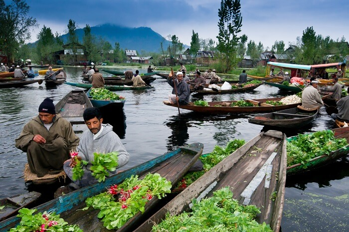 Kashmiri men sell their vegetables at a floating market in Dal Lake