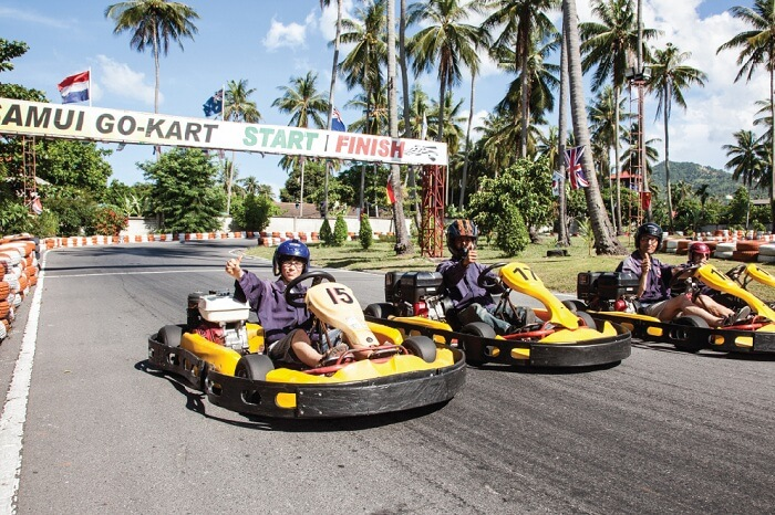 Youngsters try gokarting in Koh Samui