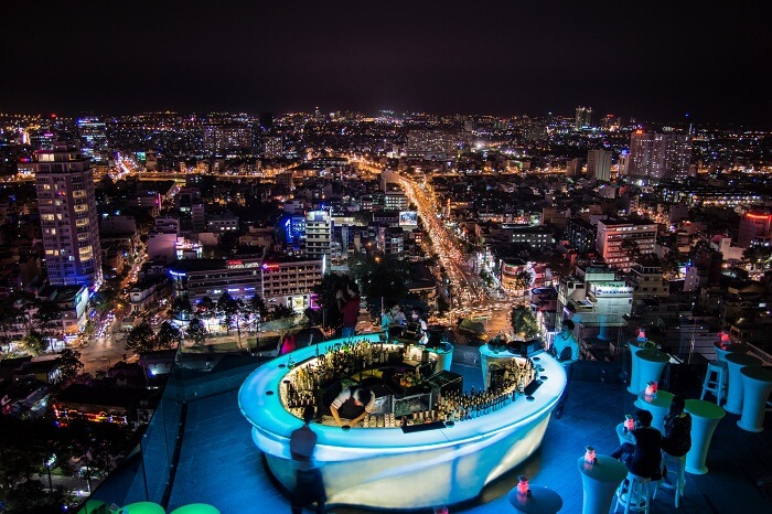 A rooftop bar at Ho Chi Minh City in Vietname