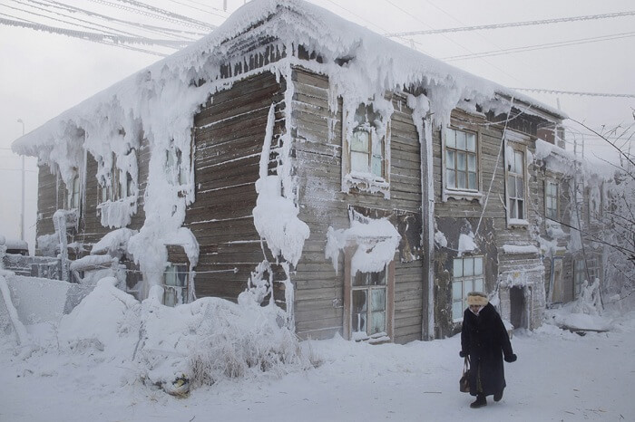 A house covered in snow flakes in Oymyakon in winters