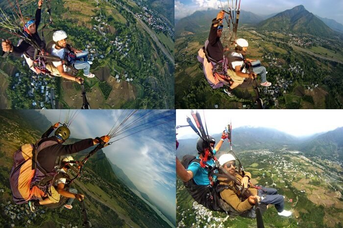 Many views of paragliding that is one of the best things to do in Kashmir