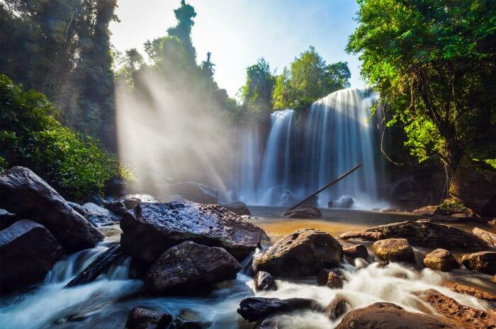 A beautiful waterfall in the Phnom Kulen National Park in Cambodia