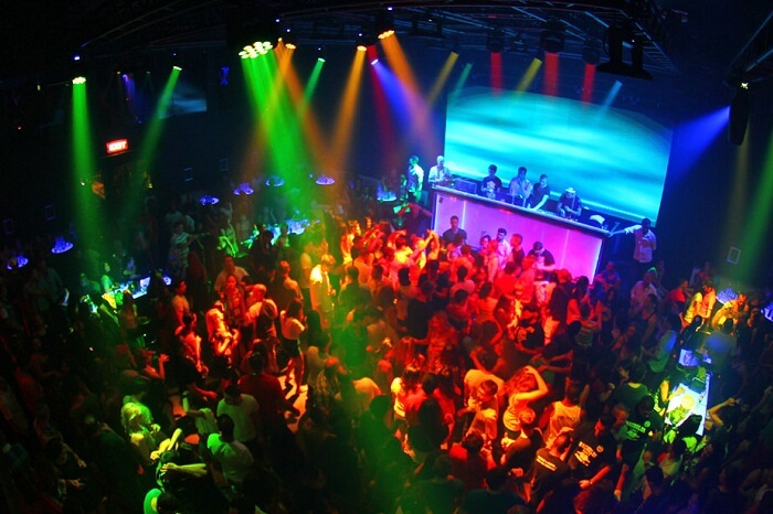 Tourists enjoying nightlife at a nightclub in Phuket