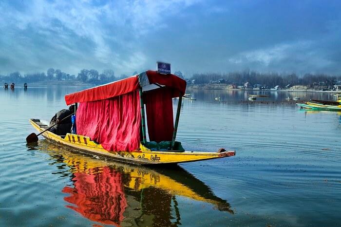 A shikara in the Manasbal Lake near Sonamarg