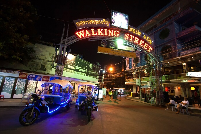 Multicolored neon signs in the heart of the Walking Street of Pattaya