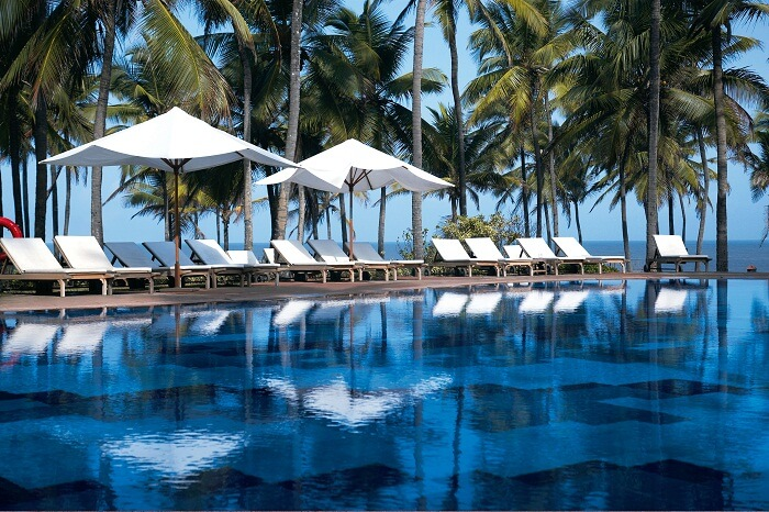 The poolside seating at the Vivanta By Taj - Fort Aguada - that is one of the luxury resorts in Goa