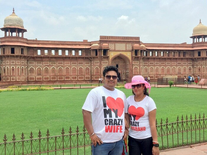 Sangram and his wife at the Golden Triangle vacation