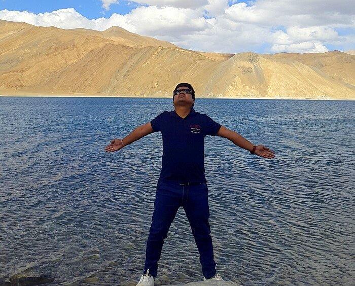 Vishal at the Pangong lake