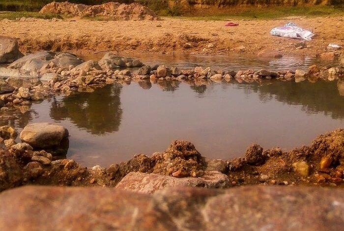 A view of Tattapani hot spring at Sukari River bank in Jharkhand