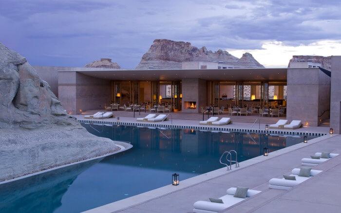 Gorgeous swimming pool at Amangiri Resort in Utah