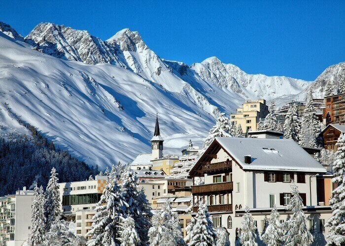 The splendid town and snow laden peaks of Arosa