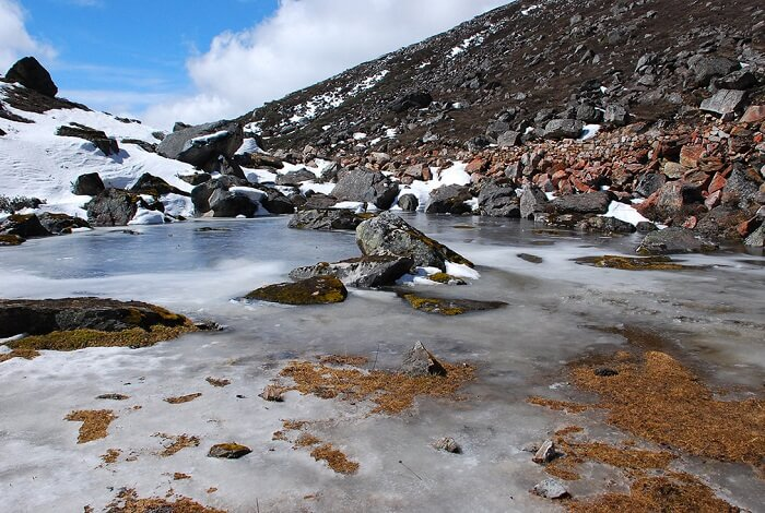 Beautiful view of hot springs in Yumthang Valley of Sikkim