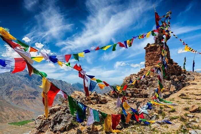Buddhist prayer flags in Spiti Valley