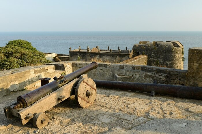 Cannon on walls of the Portuguese fort in the Diu town in Gujarat
