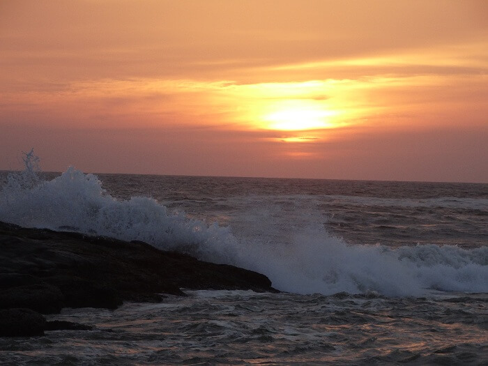 Sunset over the beach in Kovalam