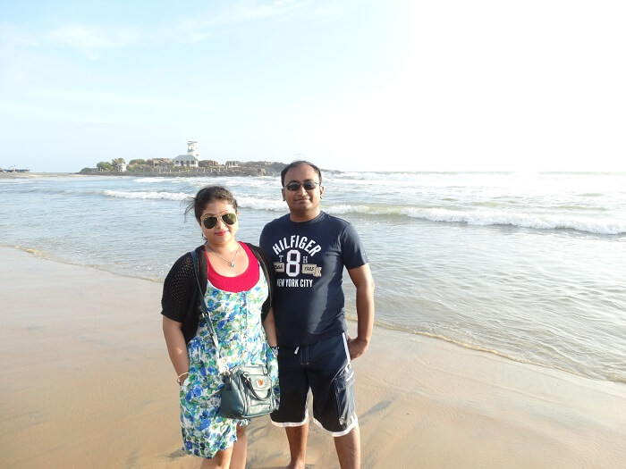 Suvankar and his wife in Kovalam
