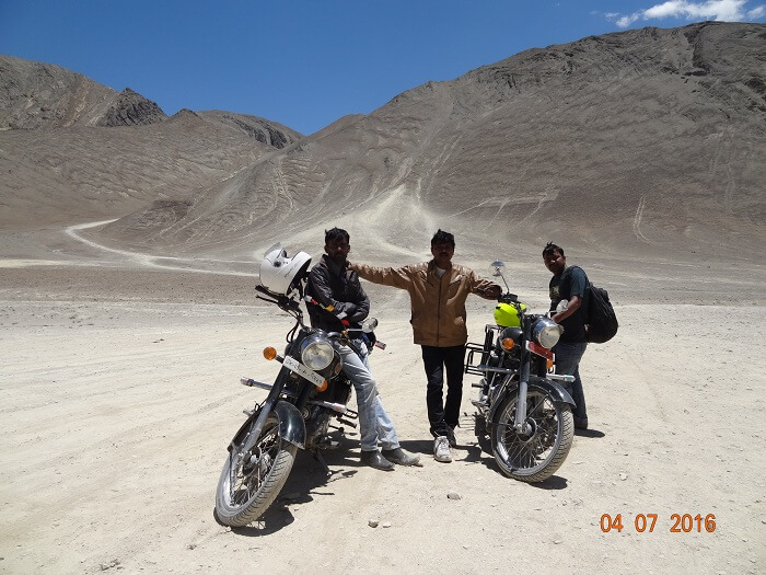 Satish and his friends riding in Ladakh