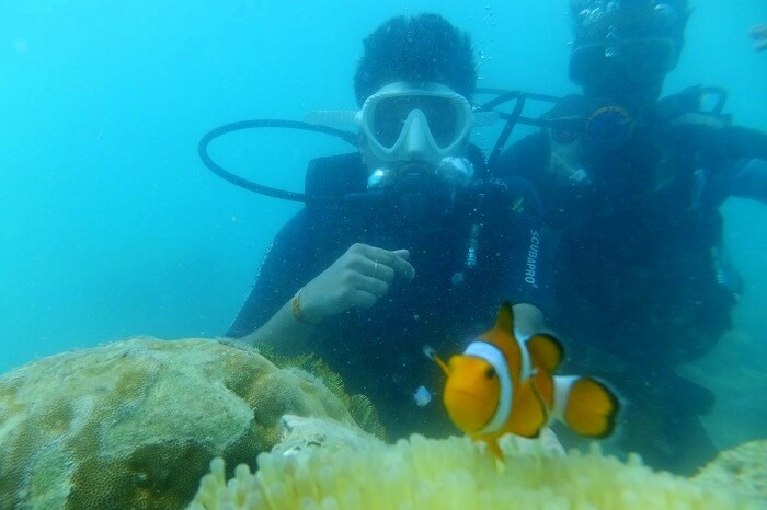 Vivek and his wife do scuba diving in Andaman