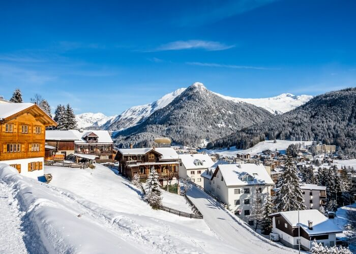 The snow laden town of Davos, one of the best places to visit in Switzerland in winter
