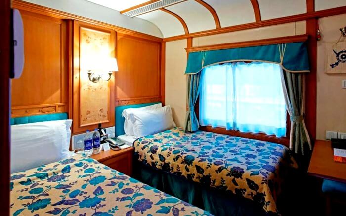 A beautiful cabin of Deccan Odyssey - one of the luxury trains in India