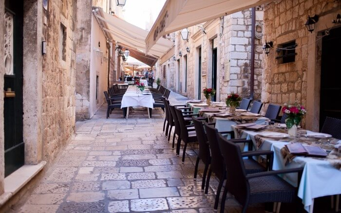 Street restaurants in Dubrovnik Old Town