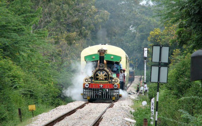 Fairy Queen Express rambling through the lush green hills