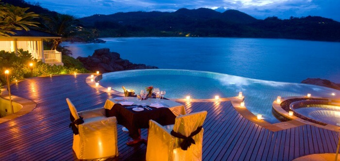 Outdoor seating area of the Fregate Island Resort