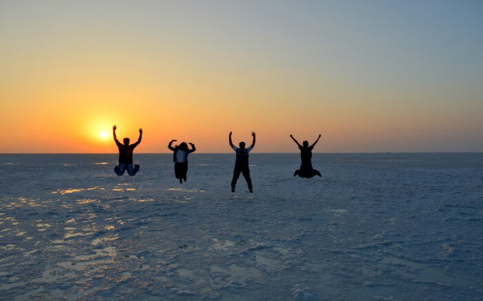 People having a gala time on Rann of Kutch one of the loveliest places to visit in November in India